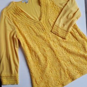 Studio Works 3/4 Length Sleeved Crochet Top Golden
